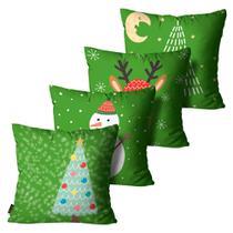 Kit 4 Capas para Almofadas Mdecore Natal Arvore de Natal Verde -