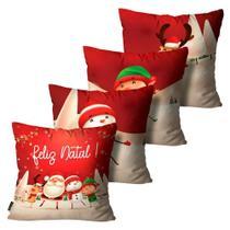 Kit 4 Capas para Almofadas Mdecore Natal Feliz Natal Vermelha -