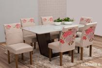 Kit 4 Capas Para Cadeira de Jantar Malha Elástica Estampadas - Ponto a Ponto Enxovais