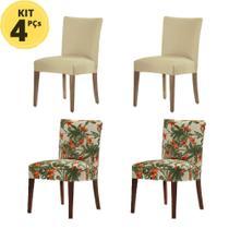 Kit 4 Capas Para Cadeira Malha Suplex Palha e MissLírio - Adomes