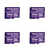 Kit 4 Cartão de Memória 32 GB Micro SD WD Purple Intelbras -