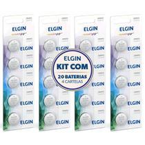 Kit 4 Cartelas Bateria Lithium 3v Cr2032 Elgin (Blister C/5) -