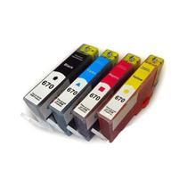Kit 4 Cartucho Jato de Tinta Compatível para HP 670 670XL Black + Color - Impressoras HP 4615 4625 5 - Toner Vale