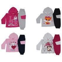Kit 4 Conjunto Infantil Feminino de Inverno Tecido Flanelado Com Capuz Cores Diversas - Colbacho