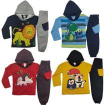 kit 4 Conjunto Moletom Infantil Masculino Inverno Tecido Flanelado Cores Diversas - Colbacho