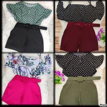 Kit 4 Conjuntos Feminino Blusa e Short Lisos ou Estampados Tamanho G GG ou EGG - Bellucy Modas