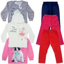 Kit 4 Conjuntos Moletom Infantil Menina 1 ao 8 Jidi Kids -