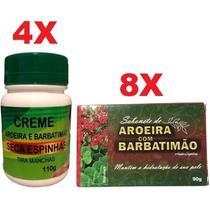 Kit 4 Creme Seca Espinhas Acne Manchas + 8 Sabonete Barbatimão e Aroeira - Bionature