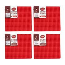 Kit 4 Descanso de Panela em Silicone Vermelho Quadrado 17x17 - Clink