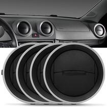 Kit 4 Difusores de Ar Gol G4 G5 G6 Saveiro G4 G6 Voyage G6 Painel Central ou Lateral Preto Aro Prata - Auto Quality
