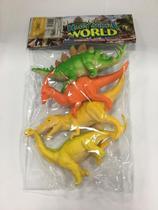 Kit 4 Dinossauros De Borracha Brinquedo Happy Animal World -