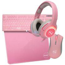 KIT 4 em 1 Serie M Gamer Dazz Teclado+Mouse+Headset+Mousepad Usb ROSA 62000021 -