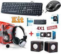 Kit 4 em 1 Teclado Usb + Mouse Óptico + Caixa De Som + Fone de Ouvido Headset Com Microfone Pc Desktop Notebook - Leffa Shop