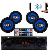 Kit 4 Falante 6 Pol + Rádio Carro Mp3 Player Usb Bluetooth - Fistoption