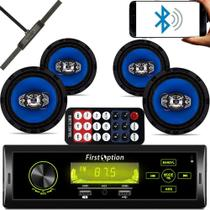 Kit 4 Falante 6 Pol + Rádio Carro Mp3 Usb Bluetooth + Antena - First Option