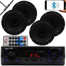 Kit 4 Falante 6 Pol + Rádio Carro Mp3 Usb Bluetooth + Antena - H-Tech