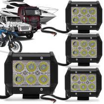 Kit 4 Faróis de Milha Quadrado Universal 6 LEDs 6000K Carro Moto Caminhão Jeep - Kit Prime