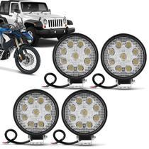 Kit 4 Faróis Milha Redondo Slim 9 LEDs 27W 12V Universal Carro Moto Jeep Off-Road Auxiliar - Kit prime