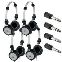 Kit 4 Fones de Ouvido Profissional AKG K414P Dobrável Para Retorno de Palco + Adaptadores P2 Fêmea x P10 Macho Estéreo -