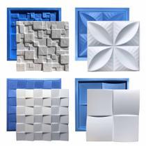 Kit 4 Formas Plástico & Eva Placa 3D Gesso - Xmoldes Formas 3D