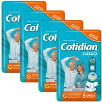 Kit 4 Fraldas Descartáveis  ADULTO COTIDIAN CLÁSSICA - G-  C/96 Unids - Softys