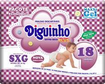 Kit 4 Fraldas Diguinho Plus Economica SXG - 18 Unidades -