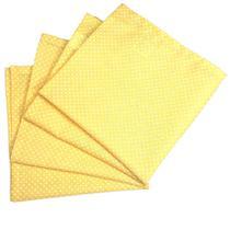Kit 4 Guardanapos de Tecido Algodão Poá Amarelo 39cmx39cm - Maison Charlô