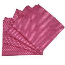 Kit 4 Guardanapos de Tecido Algodão Poá Pink 39cmx39cm - Maison Charlô
