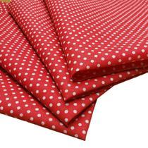 Kit 4 Guardanapos de Tecido Poá Vermelho Branco Algodão 39cmx39cm - Maison Charlô