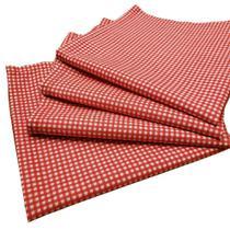Kit 4 Guardanapos de Tecido Xadrez Branco Vermelho Algodão 39cmx39cm - Maison Charlô