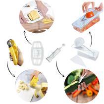 Kit 4 itens de Cozinha Cortador Fatiador de Legumes e Frutas Cebola Tomate Pepino Manual Com Recipiente - Baratotal Store