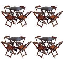 Kit 4 Jogos De Mesa Com 4 Cadeiras De Madeira Dobravel 70x70 Ideal Para Bar E Restaurante - Imbuia - Guara