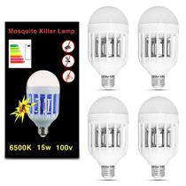 Kit 4 Lâmpada Led Mata Mosquito Insetos Pernilongo Moscas 15W Repelente 6500K E27 Bulbo Branca 110V - Kit iluminação