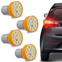 Kit 4 Lâmpadas 12 LEDs 1 Polo Trava Reta 21W 12V Luz Laranja Aplicação Pisca Seta - Autopoli