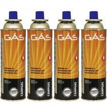 Kit 4 LATAS Refil de Gás Butano 227G Uso Culinário, Maçarico, Camping, Fogareiros e Lampião - Nautika