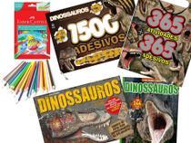 Kit 4 livros - dinossauros quebra-cabeça + lapis de cor 36 - Faber Castell