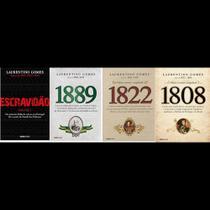 Kit 4 livros laurentino gomes escravidao + 1808 + 1889 + 1822 -