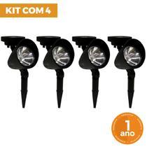 Kit 4 Luminária Refletor Solar Spot ABS com Espeto para Jardim - Ecoforce -