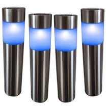 Kit 4 Luminária Solar jardim led azul balizador inox prova de água - Ecoforce