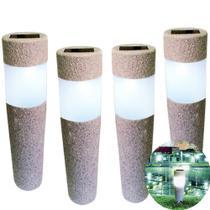 Kit 4 Luminária Solar jardim led branco balizador rustico prova de água - Ecoforce