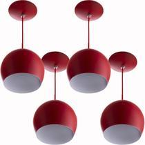 Kit 4 Lustres Pendente Bola Pequena Alumínio 15cm Vermelho - Marryluz