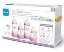 Kit 4 Mamadeira Mam + 2 Bicos Easy Start Gift Set 0+ mes Rosa -