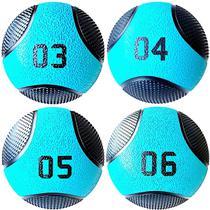 Kit 4 Medicine Ball Liveup PRO 3 4 5 e 6 kg Bola de Peso Treino Funcional LP8112 -