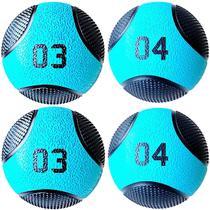 Kit 4 Medicine Ball Liveup PRO 3 e 4 kg Bola de Peso Treino Funcional LP8112 -