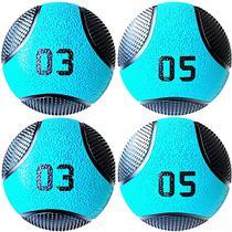 Kit 4 Medicine Ball Liveup PRO 3 e 5 kg Bola de Peso Treino Funcional LP8112 -