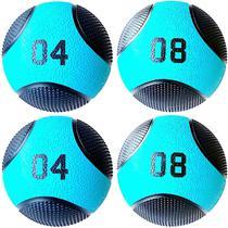 Kit 4 Medicine Ball Liveup PRO 4 e 8 kg Bola de Peso Treino Funcional LP8112 -
