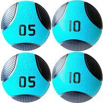 Kit 4 Medicine Ball Liveup PRO 5 e 10 kg Bola de Peso Treino Funcional LP8112 -