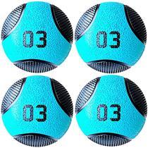Kit 4 Medicine Ball Liveup PRO A 3 Kg Bola de Peso Treino Funcional LP8112-03 -