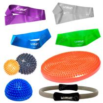 Kit 4 Mini Bands + 2 Bolas Cravo + Disco com Anel Pilates + Meia Bola Cravo 16 Cm  Liveup -