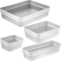 Kit 4 Organizador De Gavetas Para Armario Cozinha Ou Quarto Natural -